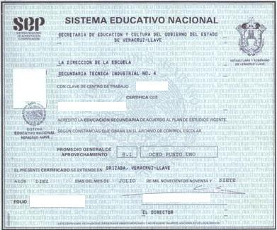 certificado secundaria front